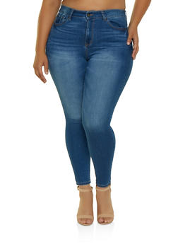 Plus Size WAX Push Up Skinny Jeans | Black - 3870071610050