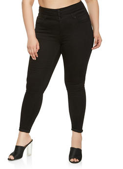 Plus Size WAX High Waisted Skinny Jeans - 3870071610119