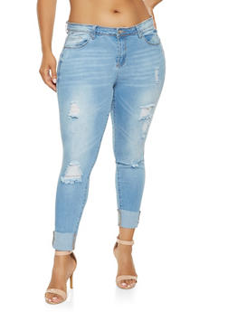 Plus Size WAX Push Up Skinny Jeans - 3870071610122