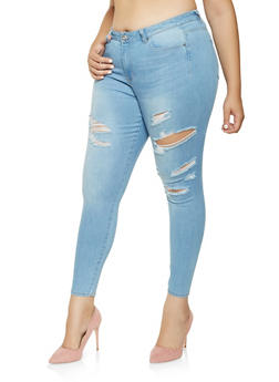 Plus Size WAX Distressed Skinny Jeans - 3870071610127