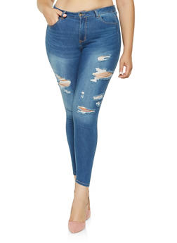 Plus Size WAX Distressed Skinny Jeans - 3870071610127