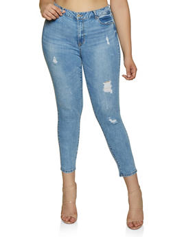 Plus Size WAX Push Up Distressed Jeans - 3870071610150