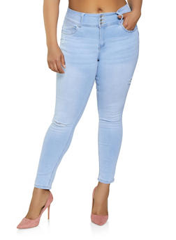 Plus Size WAX 3 Button Frayed Jeans - Blue - Size 14 - 3870071610156