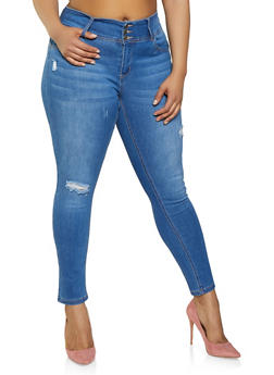 Plus Size WAX 3 Button Frayed Jeans - 3870071610156