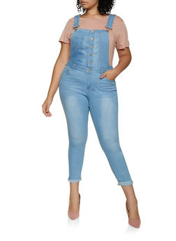 Plus Size WAX Button Front Bib Overalls - 3870071610166