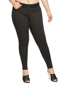 Plus Size WAX 3 Button Push Up Jeans - 3870071610340