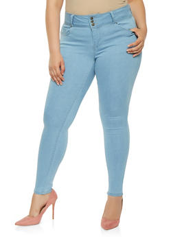 Plus Size WAX 3 Button Push Up Jeans - 3870071610340