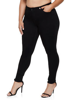 Plus Size WAX 1 Button Skinny Jeans - 3870071610600