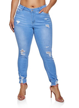 Plus Size WAX 1 Button Skinny Jeans - LIGHT WASH - 3870071610600