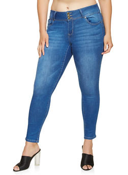 Plus Size WAX 3 Button Push Up Jeans - 3870071610979