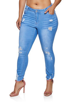 Plus Size WAX Frayed Whisker Wash Jeans - 3870071610999