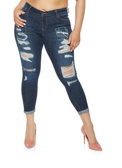 Plus Size WAX Ripped Jeans - 3870071611010