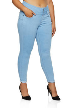 Plus Size WAX 3 Button Roll Cuff Jeans - 3870071612119