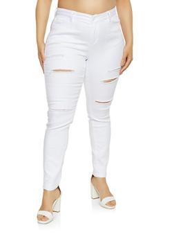 Plus Size WAX Slashed Skinny Jeans - 3870071612719