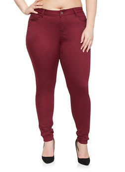 Plus Size Colored Push Up Pants - 3870071613101