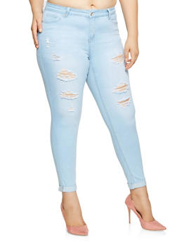 Plus Size WAX Push Up Cuffed Jeans - 3870071613333