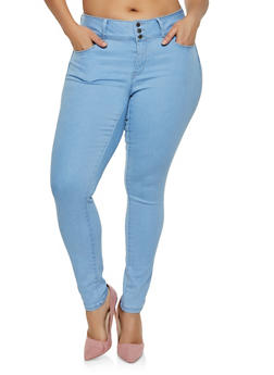 Plus Size WAX 3 Button Push Up Jeans | 3870071613401 - 3870071613401