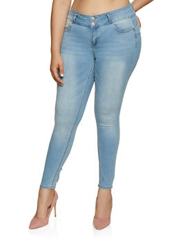 Plus Size WAX 2 Button Push Up Jeans - 3870071616609