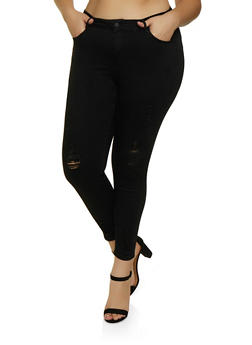 Plus Size WAX Distressed Skinny Push Up Jeans - 3870071617447