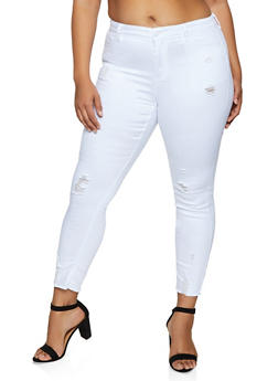 Plus Size WAX Frayed Hem Jeans - 3870071617557