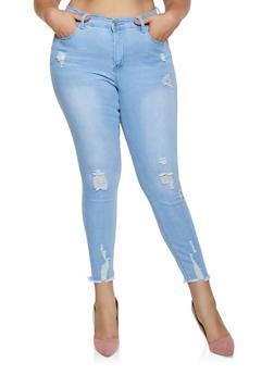 Plus Size WAX Frayed Hem Jeans - 3870071617557