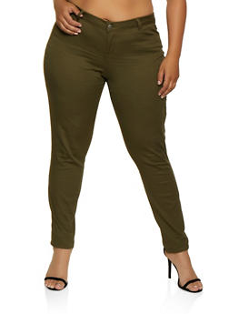 Plus Size Color Skinny Twill Pants - 3870071618520
