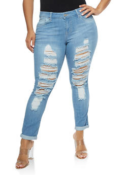 Plus Size WAX Destroyed Jeans with Rolled Cuff - 3870071619009