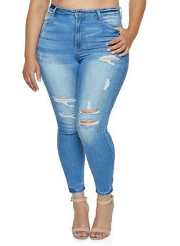Plus Size WAX Frayed Skinny Jeans - 3870071619013