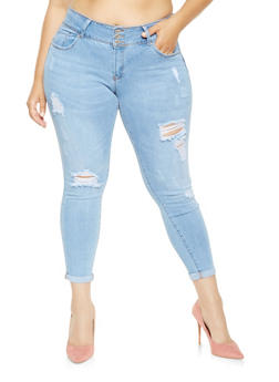 Plus Size WAX 3 Button Push Up Jeans - 3870071619017