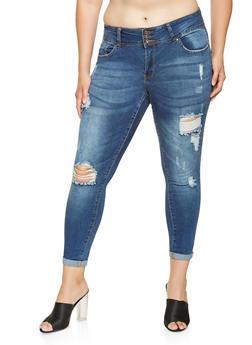 Plus Size WAX 3 Button Push Up Jeans - 3870071619017