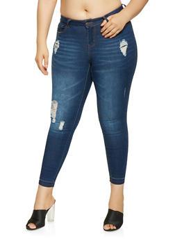 Plus Size WAX Distressed Skinny Jeans - 3870071619049