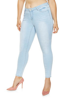 Plus Size WAX Whisker Wash Skinny Jeans - 3870071619054