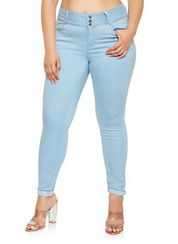 Plus Size WAX Push Up High Waist Skinny Jeans - 3870071619084