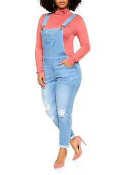 Plus Size WAX Distressed Denim Overalls - 3870071619292