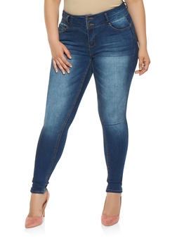 Plus Size WAX Push Up Skinny Jeans - 3870071619665