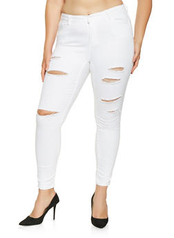 Plus Size WAX Slashed Skinny Jeans - 3870071619902
