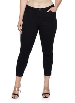 Plus Size Fixed Cuff Twill Pants - 3870071619990