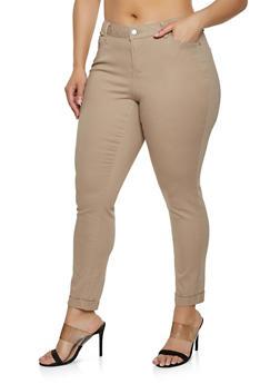Cotton Khaki Womens Plus Size Pants
