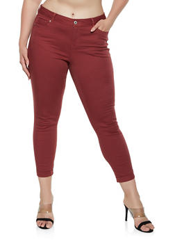 Plus Size Fixed Cuff Twill Pants - 3870071619990