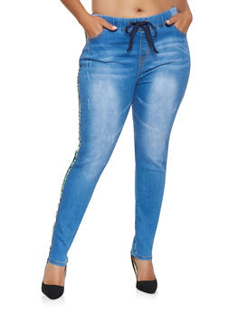 Plus Size Side Tape Pull On Jeans - 3870072290016