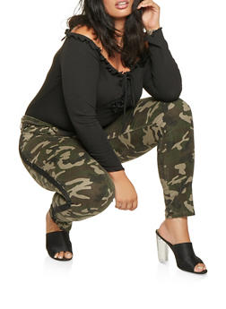 Plus Size Side Tape Camo Jeans - 3870072290017