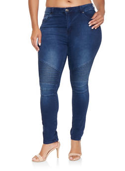Plus Size Skinny Moto Jeans - 3870072290029
