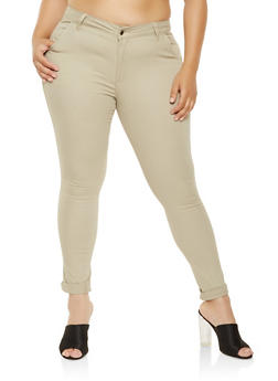 Plus Size Skinny Khaki Pants - 3870072290179
