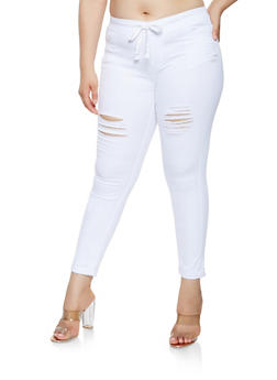 Plus Size Distressed Rolled Cuff Jeggings - 3870072290345