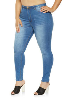 Plus Size High Waisted Skinny Jeans - 3870072290429