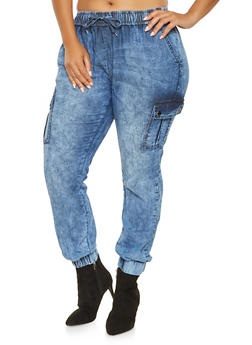 Plus Size Denim Cargo Joggers - 3870072290439
