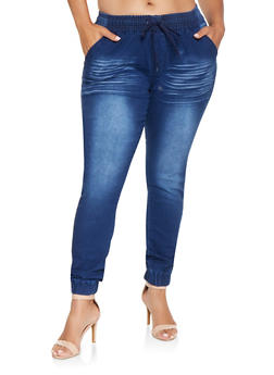Plus Size Denim Joggers - 3870072290445