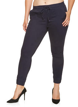 Plus Size Twill Joggers - 3870072290447