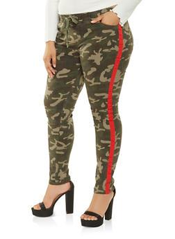 Plus Size Camo Contrast Stripe Pants - 3870072290662