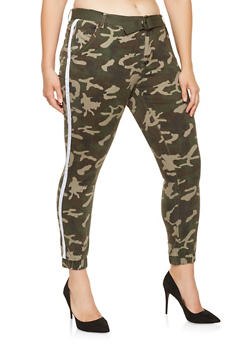 Plus Size Ribbon Detail Camo Joggers - 3870072291106